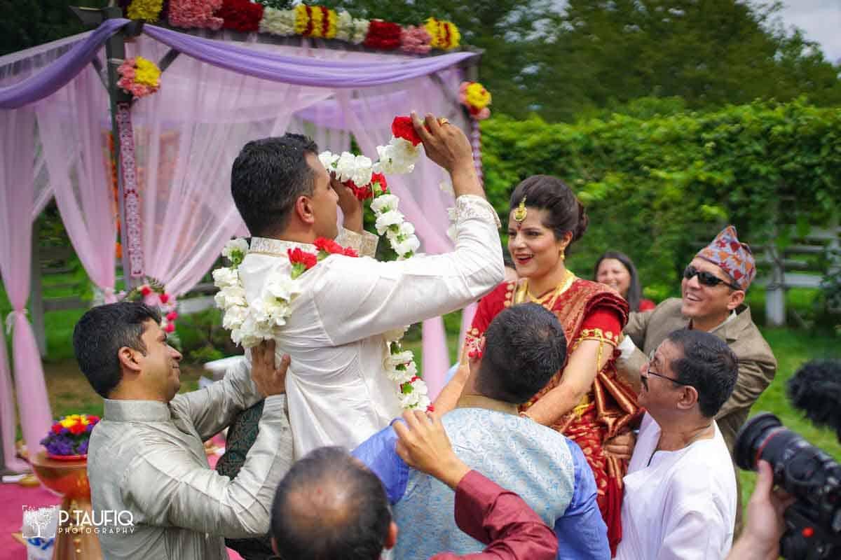 Varmala Indian Wedding Tradition Ptaufiq Photography